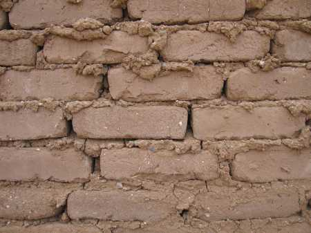 Adobe bricks in a house under construction, for Habitat for Humanity in Taos, New Mexico