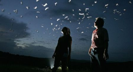 Erich Schlegel photo, bats leaving a cave near Frio, Texas, U of Tenn researchers look on