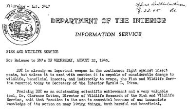 Header of FWS press release, Aug 22 1945