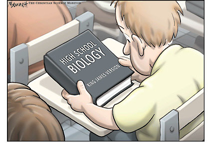 Clay Bennett cartoon from Christian Science Monitor, boy holding biology text, King James Version