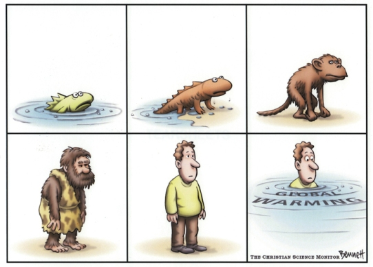 Evolution of Man, to drowning by global warming