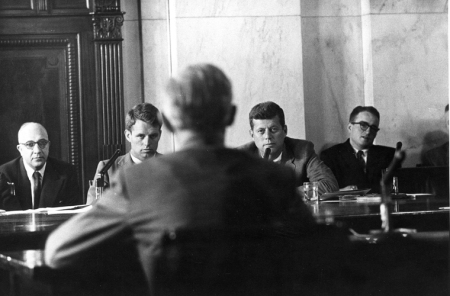 Sen. John F. Kennedy and Counsel Robert F. Kennedy, McClellan Committee hearing, 1957