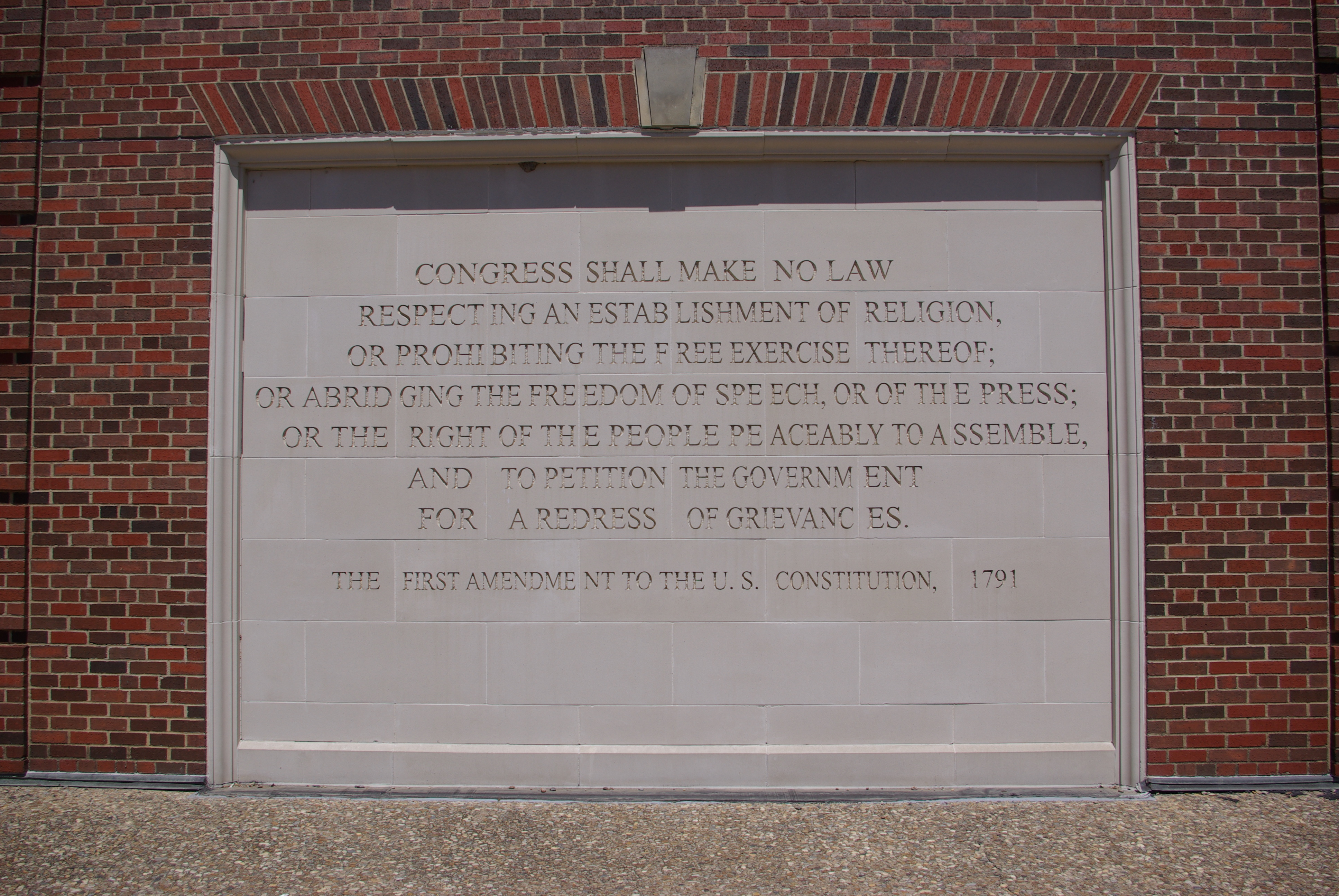 Here in Texas, we have the First Amendment engraved in stone, at Southern Methodist University.
