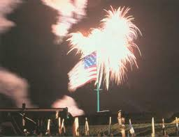 U.S. flag at Fort McHenry, near Baltimore, with fireworks – National Park Service photo