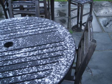 Snow on tables, The Quarter, Mount Vernon, Virginia - copyright 2009 by Ed Darrell