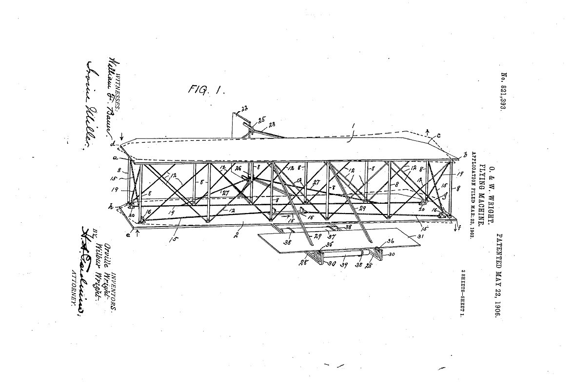 Wright Bros. flying machine, from patent drawing