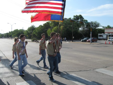 Scouts from Troop 355 and Pack 494 carry the colors in the Duncanville, Texas, 4th of July parade