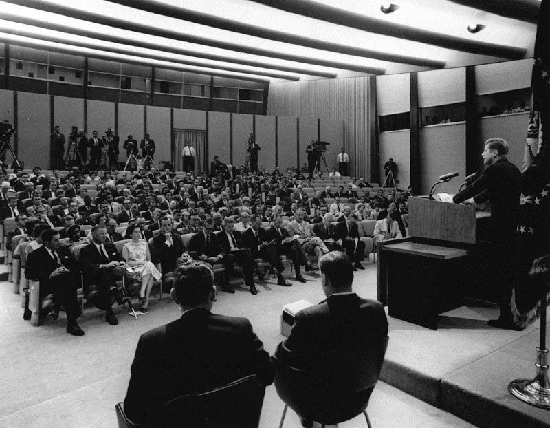 President John F. Kennedy at a press conference on August 29, 1962; he announced the retirement of Supreme Court Associate Justice Felix Frankfurter and the appointment of Arthur Goldberg to replace him; in questions, he was asked about DDT and Rachel Carson's book, Silent Spring.