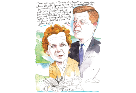 Rachel Carson persuaded President John Kennedy on her knowledge of oceans; it was the good science that hooked him. Illustration from Audubon Magazine: CARSON AND CAMELOT, Illustration by Joe Ciardiello