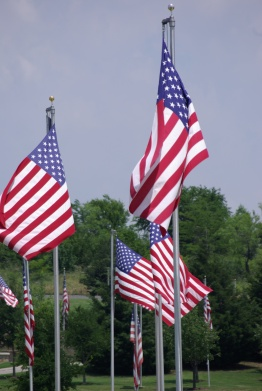 US Flags flying at DFW National Cemetery - photo by Ed Darrell (use permitted with attribution)