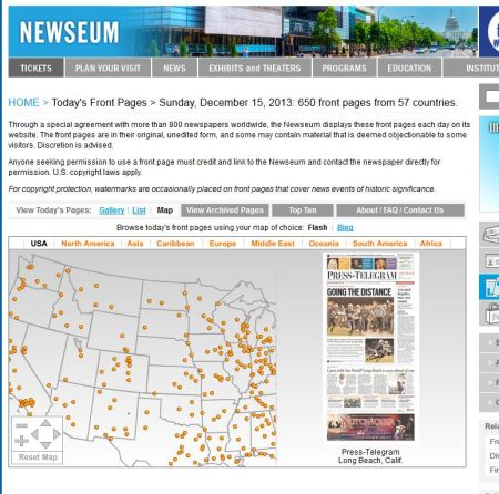 Newseum's interactive front-page feature - showing the front page of the Idaho Statesman-Journal of Pocatello, Idaho, on December 15, 2013