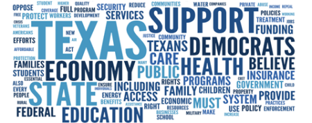 Texas Democratic Party platform word cloud