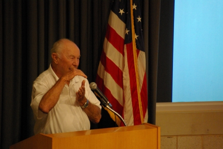 Yeager, explaining a dogfight - photo by Ed Darrell, use permitted with attribution
