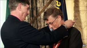 Microsoft founder Bill Gates receiving the Silver Buffalo award from Boy Scouts of America. BBC image