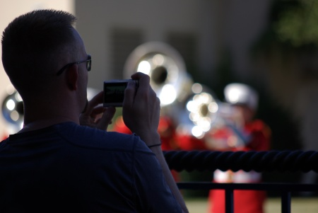 Fan makes a video of the U.S. Marine Drum and Bugle Corps at Texas State Fair, 10-8-10 - photo by Ed Darrell