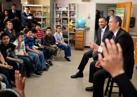 Pres. Obama and Sec. Duncan and the 6th grade at Graham Road Elementary, Falls Church, Virginia