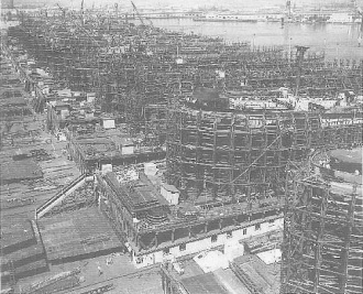 Liberty Ships under construction during World War II