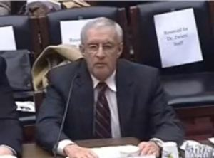 Dr. Donald Roberts testifying to the House Energy Committee, March 8, 2011. Screen capture from Committee video.