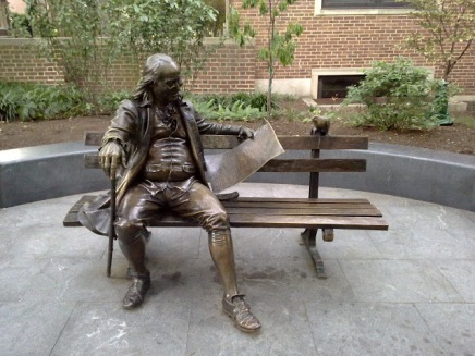 Ben Franklin reads to a bird, statue at the University of Pennsylvania - photo via Priyank