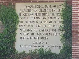 It's engraved in stone. The First Amendment, at the entrance to the Bremen Public Library in Bremen, Indiana. The Bremen Public Library serves the citizens of German Township in Marshall County, Indiana. Photo from Bremen Library.