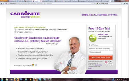 Rush Limbaugh endorses Carbonite on-line storage