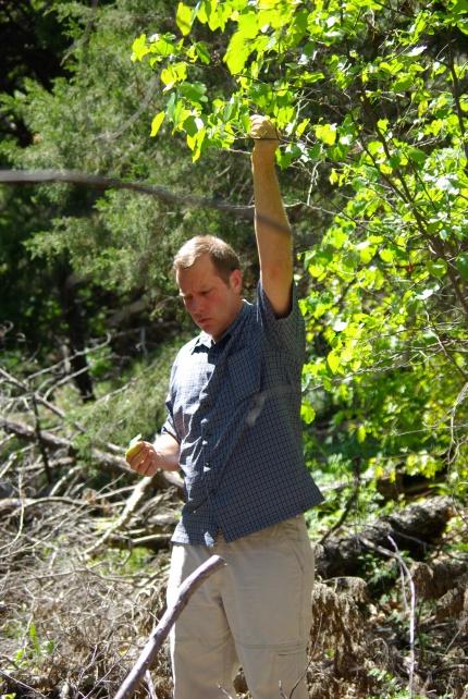 David Hurt demonstrating plant differences, Dogwood Canyon Audubon Center - 03-25-2012 import 688 - photo by Ed Darrell