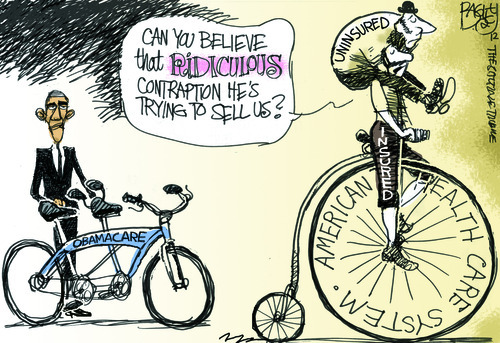 Criticism of ObamaCare. Cartoon by Pat Bagley, Salt Lake Tribune, March 28, 2012.