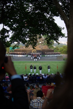 June 19 Marine Corps Sunset Parade at Iwo Jima Memorial - photo by Ed Darrell