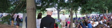 Crowd at Sunset Parade at Iwo Jima Memorial, 06-19-2012 photo by Ed Darrell