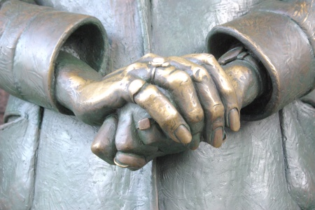 Eleanor Roosevelt's hands, photo by Ed Darrell (FDR Memorial) 06-22-2012 DC Capitol, monuments 229