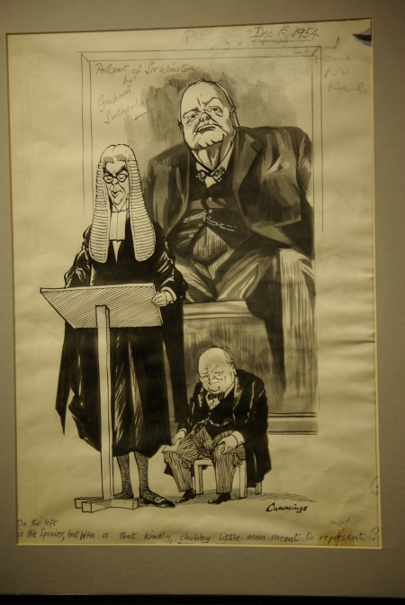 Cartoon on unveiling of Churchill's statute, Michael Cummings - Who is that chubby little man?