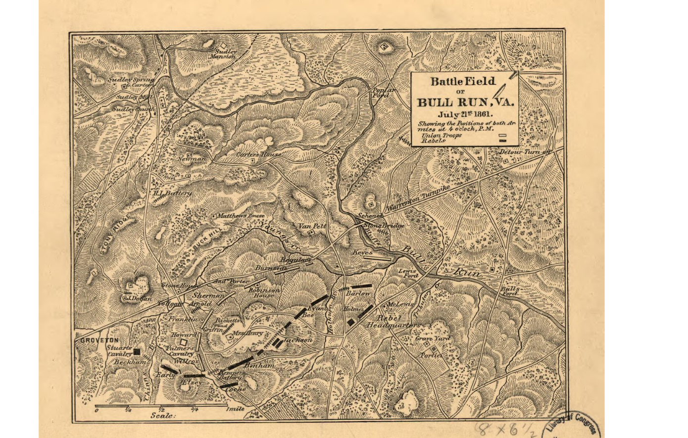 Bull Run, 1st battle of, map from LOC