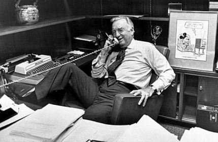 Cronkite in his office minutes before his final broadcast.  SF Chronicle photo