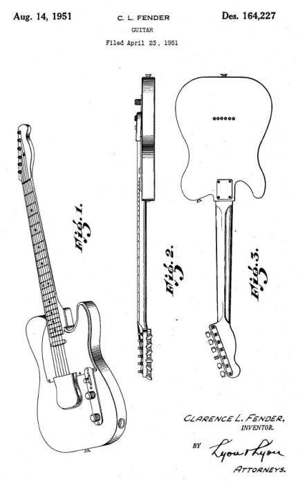 "Patent drawins for Clarence L. Fender's new guitar , later named ""Telecaster"""