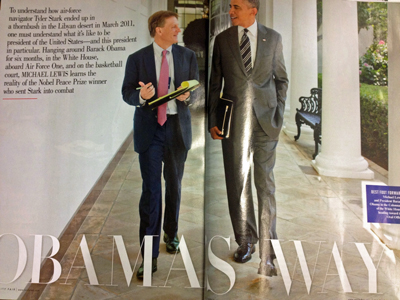 Michael Lewis and President Barack Obama walk the White House breezeway during interviews for the article in the photo; image from the article in the magazine, October 2012
