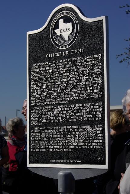 2012-11-20 Tippitt Memorial 017 plaque honoring J. D. Tippit, photo by Ed Darrell