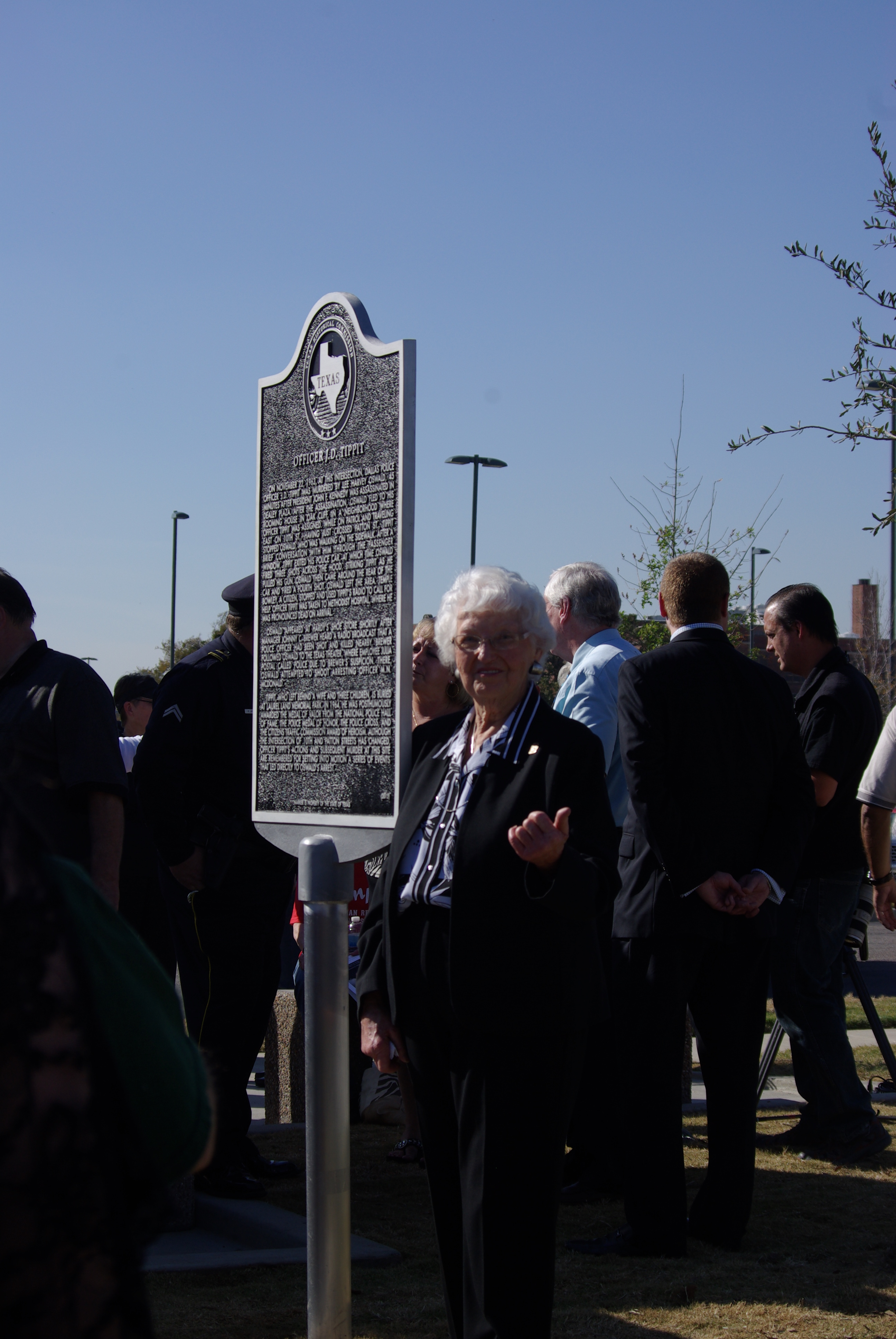 2012-11-20 Tippitt Memorial 019 Marie Tippit next to the memorial plaque to her husband, Officer J. D. Tippit
