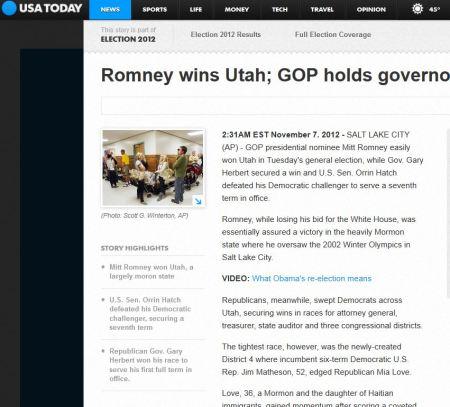"USA Today headline, ""Utah is mostly moron state"""