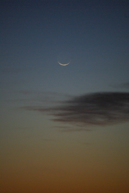 New Moon over Grand Prairie Texas, looking for Comet Pan-STARRS, photo by Ed Darrell