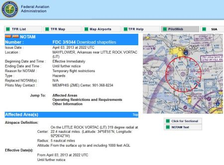 FAA notification, NOTAMs notice of Mayflower, Arkansas, temporary flight restrictions; screen grab April 3, 2013.