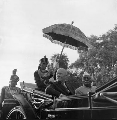 President Dwight D. Eisenhower with Indian President Rajendra Prasad, in India