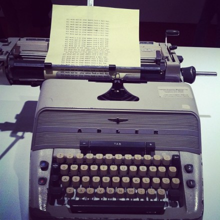 Stanley Kubrick's typewriter on Instagram, from sophireaptress.