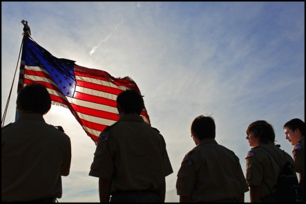 Boy Scouts from Troop 123 stand together during a Flag Day ceremony Thursday, June 14, 2012 at Veterans Memorial Park in Peru, Ill.