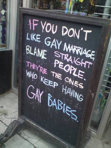 Gay babies from straight couples street sign