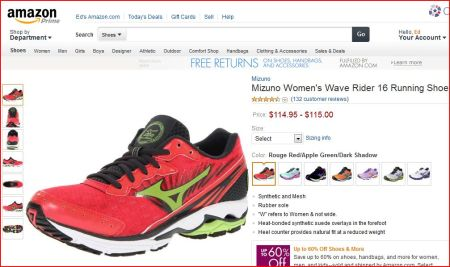 Mizuno running shoes for sale at Amazon.com -- the same shoes Sen. Wendy Davis wore during her filibuster on June 25, 2012.