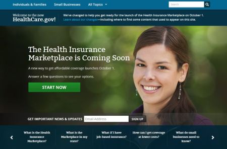 Screenshot of HealthCare.gov. Click to visit the site.