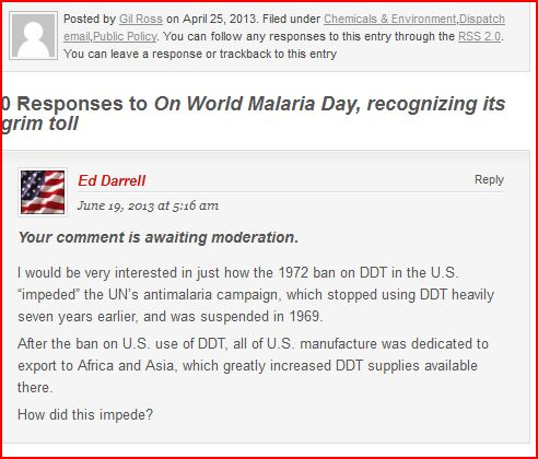 "Screen capture of query to ACSH on how EPA's ban ""impeded"" WHO's campaign against malaria, ended years earlier."
