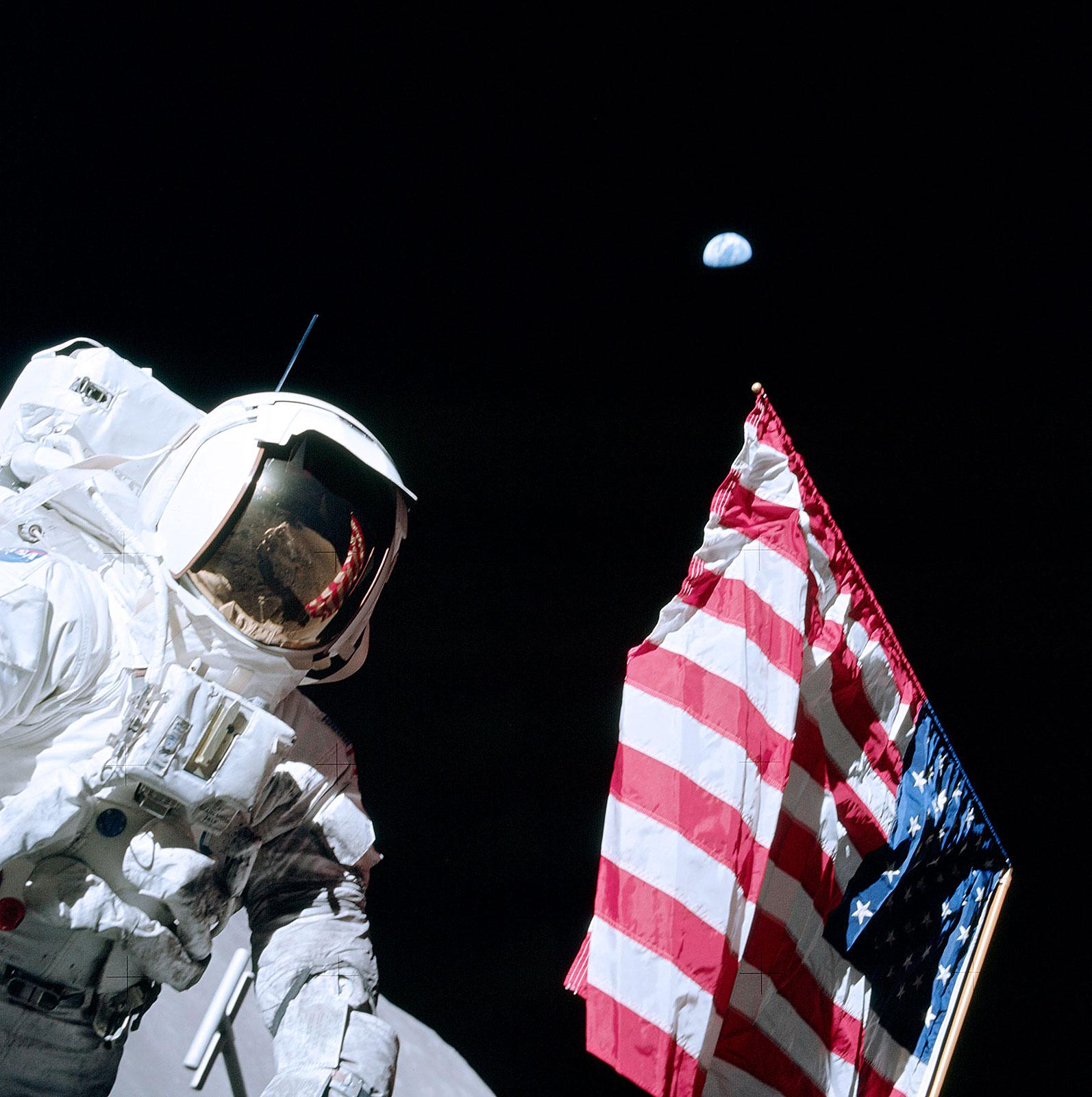 Astronaut Eugene Cernan and the U.S. Flag -- Apollo 17 on the Moon (NASA photo)
