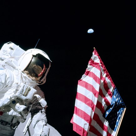 Astronaut Eugene Cernan and the U.S. Flag -- Apollo 17 on the Moon (NASA photo)