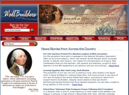 Screenshot of David Barton's webpage, showing his bizarre butchery of Adams's words.
